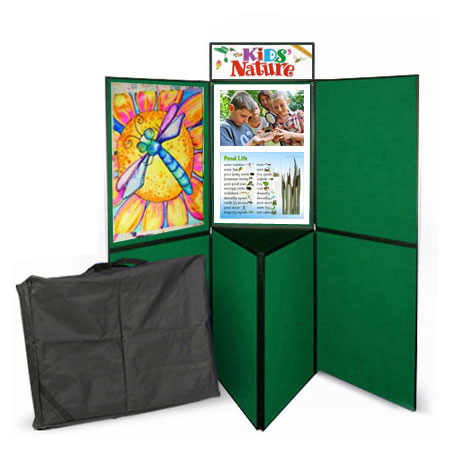 7 panel folding display stand with built-in triangular tabletop & double sided exhibition boards.