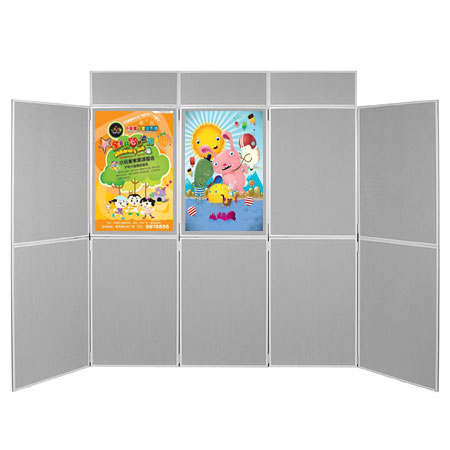 Posters can be attached to both sides of the display boards using pins and Velcro.