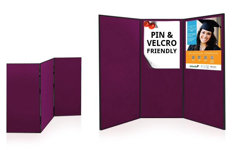 3 large folding exhibition poster presentation boards.