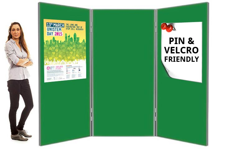 6ft tall display boards with fabric covering on both sides