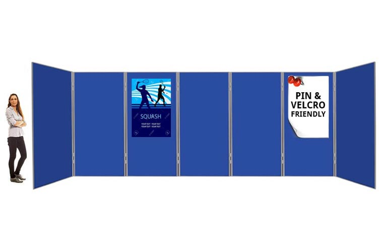 6ft high display boards joined together with linking pole and clips