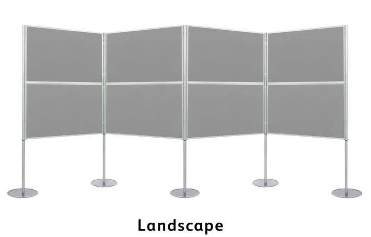 Display boards in landscape 900 x 600mm size.