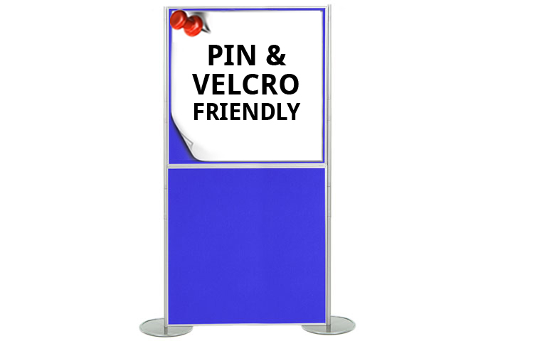 Display boards 1000 x 1000mm (1m x 1m). Easily attach posters using pins and Velcro