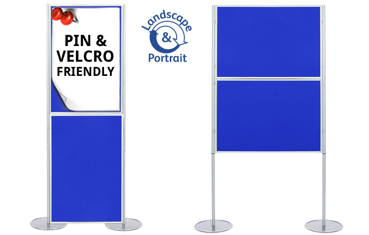 Panel and pole display boards. Attach posters using on both sides of the panel.