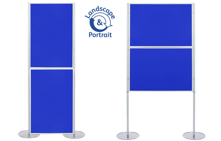 Panel and pole display stand with 2 display boards 1000 x 700mm size.
