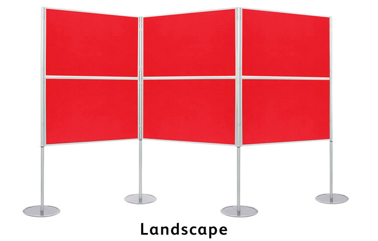 Set up the display boards in a landscape formation.