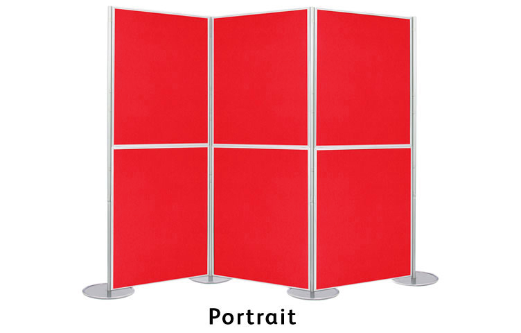 The display boards can be erected in a portrait or landscape orientation.