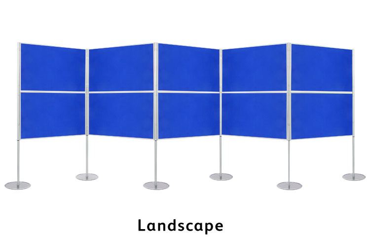 Display boards assembled in landscape. Free standing 900 x 600mm panels.