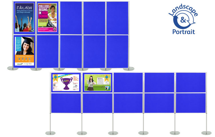Panel and pole display stand with 10 display boards 1000 x 700mm size.