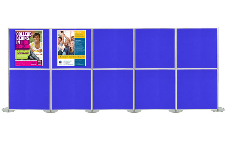 Panel & pole exhibition stand with 10 panels 1 metre square.