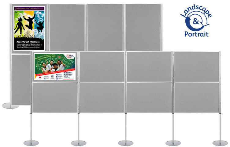 Modular display stand with 8 display boards 900 x 600mm size.