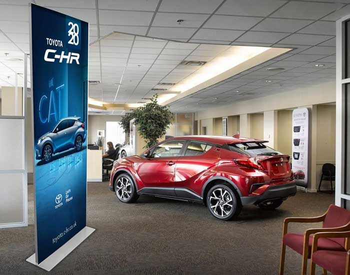 Printed sign stands perfect for car showrooms