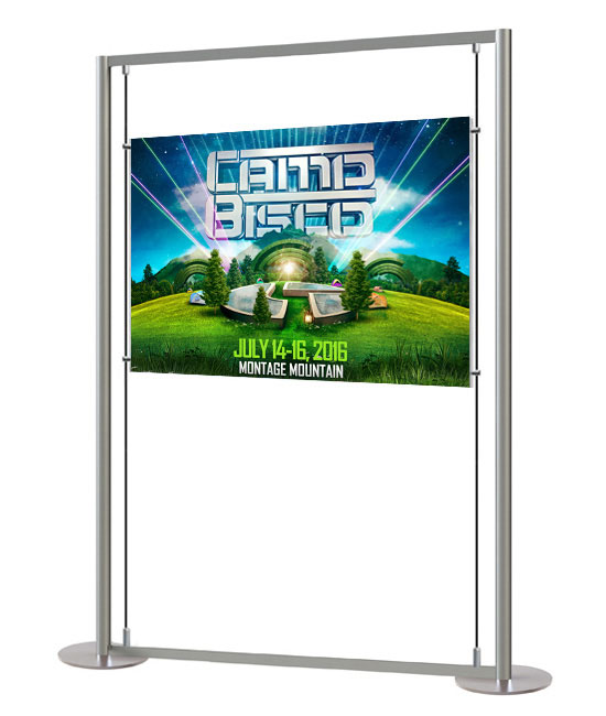A0 display stand with easy access pocket - Posters can be viewed from both sides.