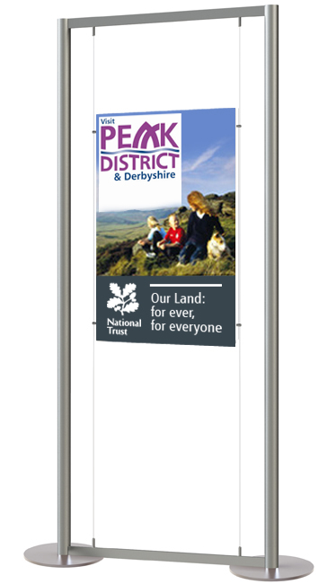 Display stand with double sided A1 clear acrylic poster pocket
