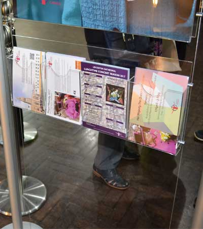 Integrated leaflet holder with 4 x A5 portrait