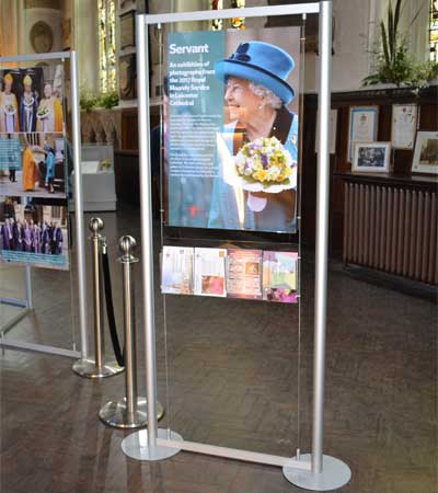 Display stands used for the Queens vsist in April 2017 at Leicester Cathedral.