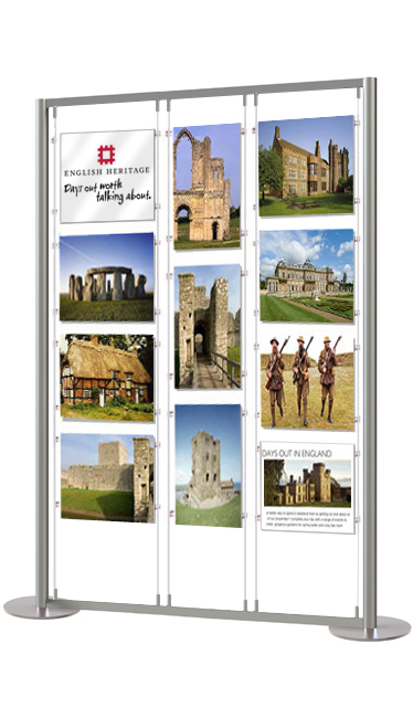 Display stand with a mix of A3 portrait and A3 landscape double sided acrylic poster pockets.
