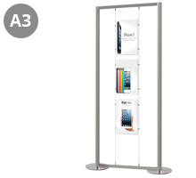 3 x A3 Portrait Floor Standing Cable Display Stand