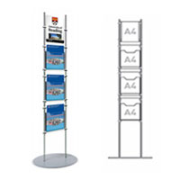 Rod Display Stands - 1 x A4 Poster Holder & 3 x A4 Leaflet Dispensers
