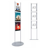 Rod Display Stands - 3 x A3 Portrait Poster Holders