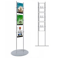 Rod Display Stands - 3 x A4 Portrait Poster Holders