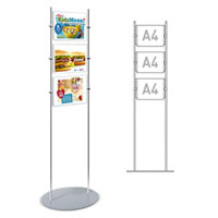 Rod Display Stands - 3 x A4 Landscape Poster Holders