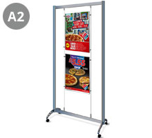 Mobile Display Stand with 2 x A2 Portrait Pockets
