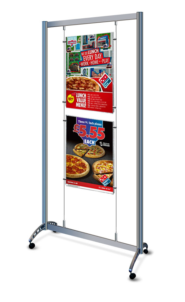 A portable A2 cable display stand with castors.