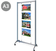 Mobile Display Stand with 4 x A3 Landscape Pockets