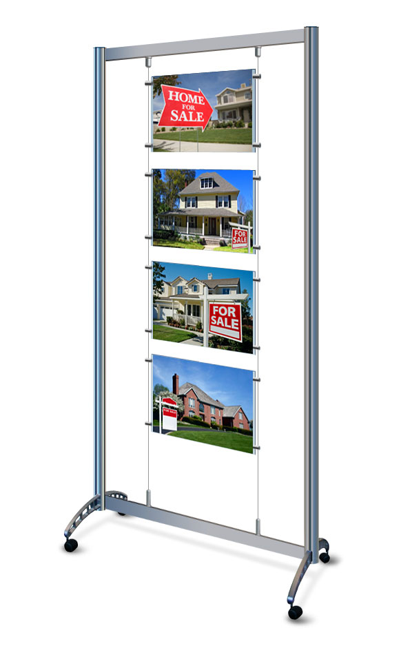 Mobile display stand with 4x A3 landscape poster pockets.