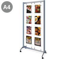 Mobile Display Stand with 6 x A4 Pockets & 2 x A4 Dispensers