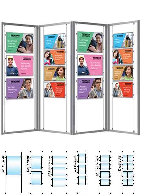 A quadruple freestanding display stand frame with a choice of A1, A2, A3 or A4 pockets. Use as a U-shape, L-shape or zig-zag display stand.