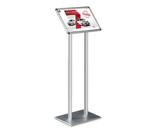 A twin post information stand and sign holder. Ideal for car showrooms, foyers and reception areas.