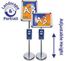 Titan A3 Sign Stands with A4, A5 or 1/3 A4 Leaflet Holders