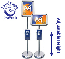 Titan A4 Sign Stand with A4, A5 or 1/3 A4 Leaflet Holders