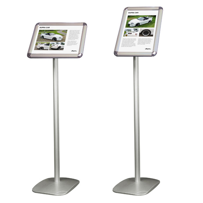 Saturn A4 sign holders with angled poster frame - portrait or landscape