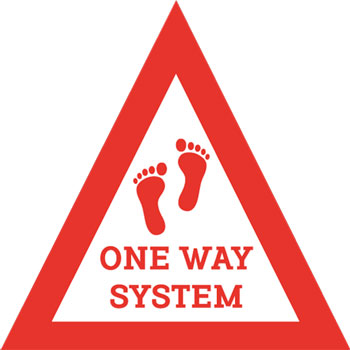 Triangle one way system vinyl sticker, perfect for shops, schools, and any public building