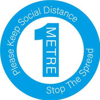 Round social distance sticker in blue and white - Please stay 1m apart