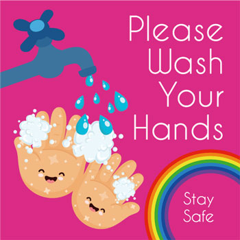 Please wash your hand vinyl floor or wall sticker