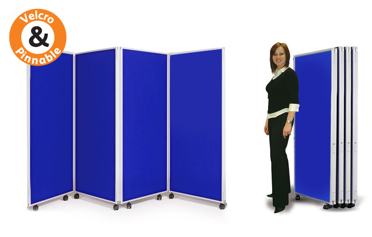 Mobile display boards 1500mm high - 4 panels hinged together