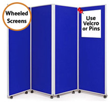 Mobile 4 Panel Folding Display Boards 1800mm High