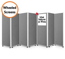 Mobile 7 Panel Folding Display Boards 1800mm High