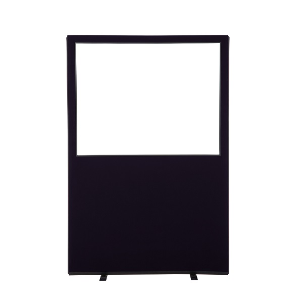 6ft high office screen with clear acrylic top panel (1200mm wide - 4ft)