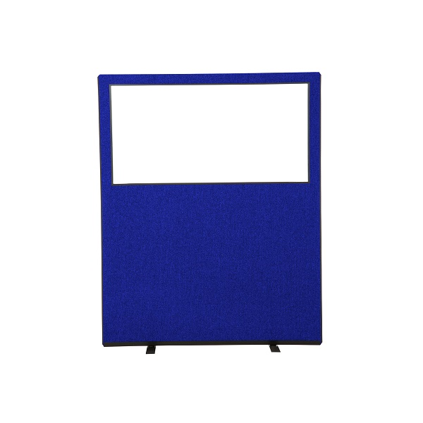 6ft high office screen with clear acrylic top panel (1500mm wide - 5ft)