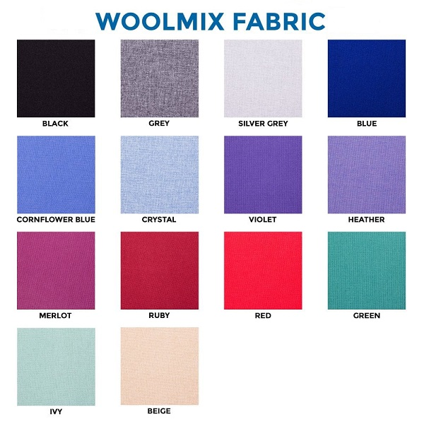 Choice of premium woolmix fabric colours