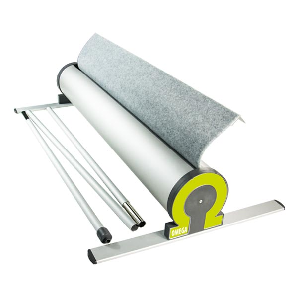 Roller banner stand package includes base unit, twin support feet and a 3-part bungee pole