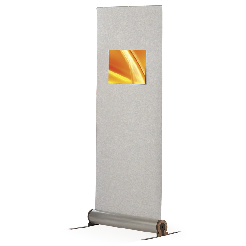 Fabric roller banner stands for posters. Quick and easy poster change using hook Velcro.