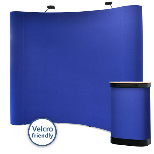 3x3 curved popup stands with Velcro friendly fabric panels