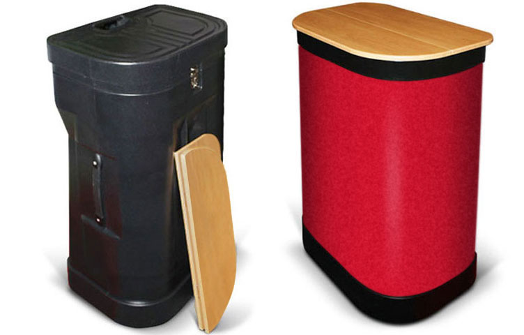 Case-to-counter option: fabric case wrap-around and folding beech coloured tabletop