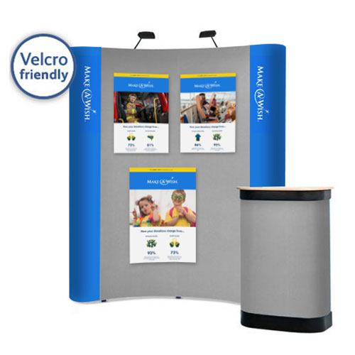 Poster can be easily displayed on the central section of the stand using hook Velcro